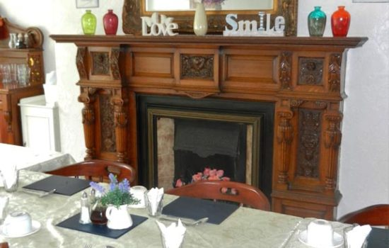Anfield Manor dining room fireplace